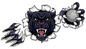 Schwarzer Panther-Golf-Maskottchen, das Hintergrund bricht lizenzfreie abbildung