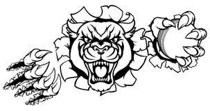 Schwarzer Panther-Kricket-Maskottchen, das Hintergrund bricht Lizenzfreie Stockbilder