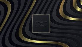 Schwarzer Papierschnitthintergrund Zusammenfassung realistische überlagerte papercut Dekoration gemasert mit goldenem Halbtonmust lizenzfreie abbildung