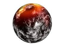 Schwarzer Planet der Erfindung mit gelbem Glühenhalo auf dem Norden vektor abbildung