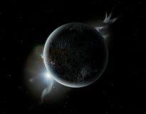 Schwarzer Planet im Universum mit Aura und Sternen Lizenzfreie Stockbilder