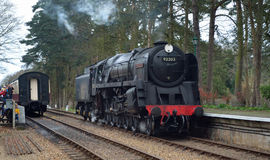 Schwarzer Prinz 92203 an Holt-Station auf der Nord-Norfolk-Eisenbahn Stockbilder