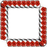 Schwarzer Rahmen mit roten Rosen Lizenzfreies Stockfoto