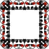 Schwarzer Rahmen mit roten Rosen und Blättern Stockbilder