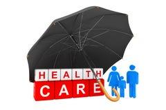 Schwarzer Regenschirm bedeckt Gesundheitswesen-Würfel mit Personen-Familie Lizenzfreies Stockfoto