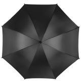 Schwarzer Regenschirm lokalisiert auf weißer, Draufsicht Lizenzfreie Stockfotografie