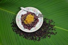 Schwarzer Reis roh und reif Stockfotografie