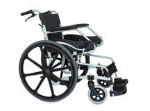 Schwarzer Rollstuhl auf weißem Hintergrund Lizenzfreies Stockfoto