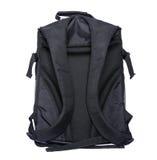 Schwarzer Rucksack auf einem weißen Hintergrund Stockbild