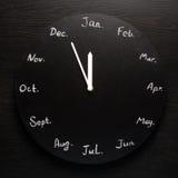 Schwarzer runder Uhrkalender 12 Monate Stockbilder