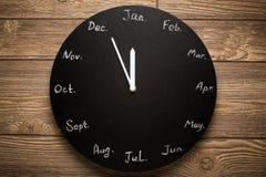 Schwarzer runder Uhrkalender 12 Monate Lizenzfreies Stockfoto