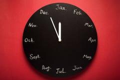 Schwarzer runder Uhrkalender 12 Monate Stockfotografie