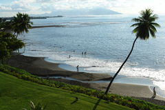 Schwarzer Sandstrand Tahiti Lizenzfreies Stockbild