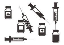 Schwarzer Satz Spritzen für Einspritzung mit Impfstoff Auch im corel abgehobenen Betrag vektor abbildung