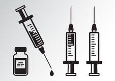 Schwarzer Satz Spritzen für Einspritzung mit Impfstoff, Phiole Medizin Vektor stock abbildung