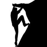 Schwarzer Schattenbildkletterer auf weißem Hintergrund Auch im corel abgehobenen Betrag Lizenzfreie Stockfotos