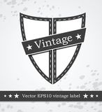 Schwarzer Schildaufkleber mit der Retro- Weinlese angeredet Stockfotografie
