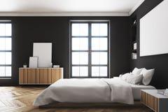 Schwarzer Schlafzimmerinnenraum, Plakat, Seite Stockfotografie