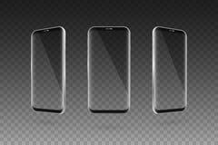 Schwarzer Smartphone des Bildschirm- Transparenter Schirm Setof Vektor vektor abbildung