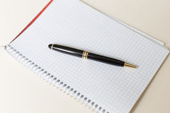 Schwarzer Stift mit weißer Auflage oder Notizblock Lizenzfreie Stockfotografie