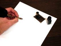Schwarzer Stift und schwarze Tinte Stockfoto