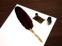 Schwarzer Stift und schwarze Tinte Lizenzfreies Stockbild