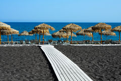 Schwarzer Strand von Santorini, Griechenland Lizenzfreies Stockfoto