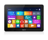 Schwarzer Tablet-PC mit Metroschnittstelle Stockfotos