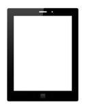 Schwarzer Tablette-PC auf weißem Hintergrund Stockfotos