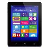 Schwarzer Tablette PC mit Metroikonen auf Anzeige Lizenzfreies Stockbild
