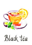 Schwarzer Tee des Aquarells lizenzfreie abbildung