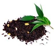 Schwarzer Tee mit dem Blatt lokalisiert auf Weiß Lizenzfreie Stockfotografie