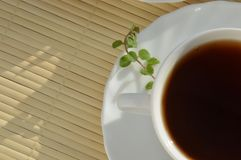 Schwarzer Tee mit Minze im weißen Becher auf weißer Platte auf Strohstand Lizenzfreies Stockbild