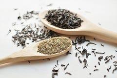 Schwarzer Tee und Thymian Stockfotografie