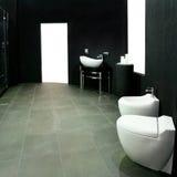 Schwarzer Toilette/Waschraum Stockbilder