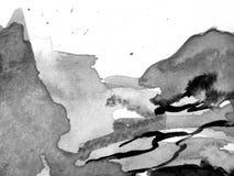 Schwarzer u. weißer Aquarell-Hintergrund 4 Lizenzfreie Stockbilder