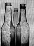 Schwarzer u. weißer Bierflasche-Hintergrund stockbild