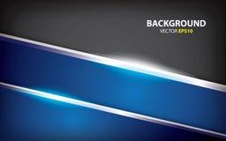 Schwarzer und blauer abstrakter Hintergrund mit silbernem glattem Minimales Konzept lizenzfreie abbildung