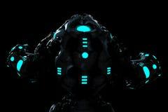 Schwarzer und blauer glühender Raubroboter in einer hinteren Ansicht des dunklen Hintergrundes lizenzfreie abbildung
