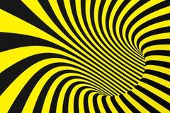Schwarzer und gelber gewundener Tunnel von den Polizeibändern Gestreifte verdrehte hypnotische optische Täuschung Warnender Siche lizenzfreies stockfoto