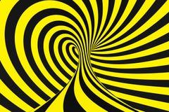 Schwarzer und gelber gewundener Tunnel von den Polizeibändern Gestreifte verdrehte hypnotische optische Täuschung Warnender Siche stockbild