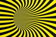 Schwarzer und gelber gewundener Tunnel von den Polizeibändern Gestreifte verdrehte hypnotische optische Täuschung Warnender Siche stockfotos