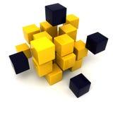 Schwarzer und gelber Kubikhintergrund Stockbilder
