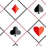 Schwarzer und roter nahtloser Hintergrund mit Anzügen von Spielkarten Vektor lizenzfreie abbildung
