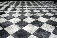 Schwarzer und weißer Marmorfußboden Stockfoto