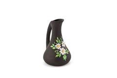 Schwarzer Vase mit Blumenzeichnung Lizenzfreie Stockbilder