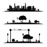 Schwarzer Vektor der Stadt und der Natur Stockbilder