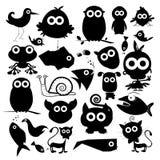 Schwarzer Vektor-Tier-Schattenbild-Satz Stockbilder