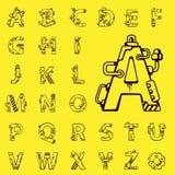 Schwarzer Vektorsatz Buchstaben des englischen Alphabetes mechanisches r Stockfotografie