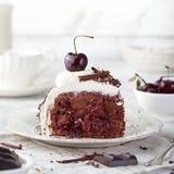 Schwarzer Wald-Kuchen, verziert mit Schlagsahne und Kirsche-Schwarzwald-Torte, dunkle Schokolade und Kirschnachtisch stockfoto